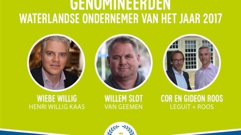 Genomineerden Ondernemersprijs Waterland 2017 bekend