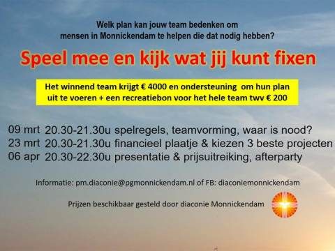 Win 4000 euro met project Fix You van Diaconie Monnickendam