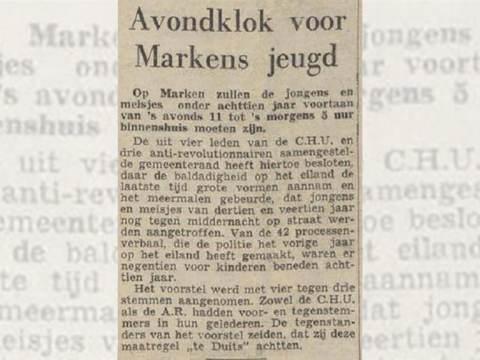 Marken had avondklok voor jeugd in jaren vijftig