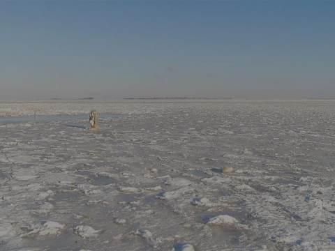 De ijszeilers kunnen zeilen! Genoeg ijs en wind